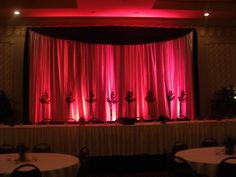 Backlit backdrop kit behind a head table. Courtesy of Bliss Events and Weddings.