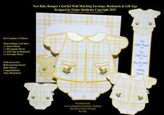 New Baby Set 1 Card Kit Envelope Inserts Tags Bookmark on Craftsuprint - Add To Basket!