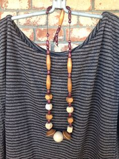 Vintage wood beaded necklace.