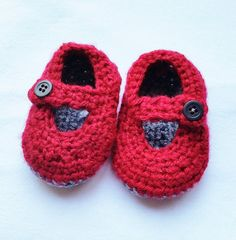 Handknit Mary Jane Style Baby Booties by Keep'em in Stitches - Various Colors