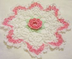 french pink and white crocheted doily    home decor handmade in USA original design
