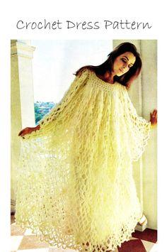 "Vintage 70's Crochet BEACH Wedding Dress PDF Pattern - ""MAXI"" Sea Goddess - Wedding Caftan Dress"