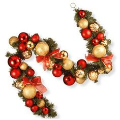 Create a festive holiday décor in your home with the Gold and Red Ornament Garland by National Tree Company. Glossy and matte gold and red ball ornaments trimmed with decorative ribbons make this piece perfect for hanging in your home. Outdoor Christmas Garland, Pre Lit Garland, Christmas Wreaths, Christmas Ornaments, Pine Garland, Christmas Ideas, Christmas Crafts, Red And Gold Christmas Tree, Garland Ideas