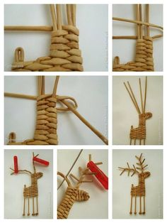 Variation on the ubiquitous woven reindeer . Christmas Projects, Diy Crafts To Sell, Holiday Crafts, Christmas Crafts, Crafts For Kids, Reindeer Christmas, Wooden Reindeer, Reindeer Ornaments, Holiday Ornaments