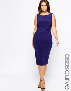 MOTHER OF THE BRIDE : Another GREAT dress for you Rock!  ASOS CURVE Midi Dress With Bow Back. It's available in Blue (color shown).