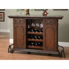 Wooden Traditional Bar Unit with Marble Top Brown Brown / Wood / Cherry Coaster Furniture, Bar Furniture, Bar Unit, Classic Bar, Moldings And Trim, Moulding, Wine Storage, Storage Area, Dining Room Bar