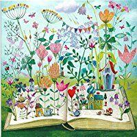 Glitzer Postkarte Mila Marquis * Buch & Blumen * 140x140mm