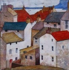 """Staithes"" by Malcolm Coils English Artist . Watercolor Architecture, Watercolor Landscape, Watercolour Painting, Landscape Art, Painting & Drawing, Landscape Paintings, Watercolours, Landscapes, Building Painting"