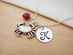 Crab / Cancer Zodiac Charm Swarovski Birthstone Initial Personalized Sterling Silver Necklace / Gift for Her
