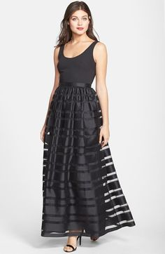 Free shipping and returns on Aidan by Aidan Mattox Mixed Media Ball Gown at Nordstrom.com. A minimalist ballet-neck bodice shifts focus onto a uniquely captivating skirt striped in sheer chiffon and lustrous, textural shantung.