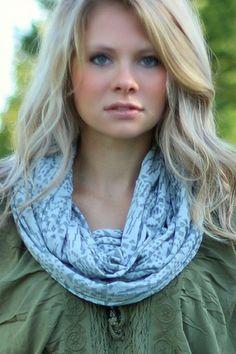 Grey Aztec Cotton Blend Infinity Scarf http://www.nanamacs.com/grey-aztec-cotton-blend-infinity-scarf/ #warm #fall #blue