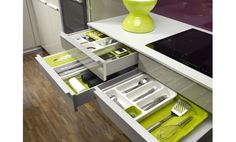 New Kitchen Drawer Storage — Renacci for Home Joseph Kitchen, New Kitchen, Kitchen Dining, Kitchen Decor, Kitchen Stuff, Kitchen Ideas, Kitchen Storage Solutions, Kitchen Organization, Organizing