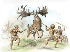 Neanderthals hunting Megaloceros