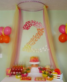 "Butterfly Themed Party - tulle ""butterfly net"" ceiling treatment - eventstocelebrate.net"