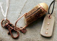 Antler pendant and key ring.