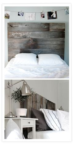 I love the contrast: industrial palets and pure white sheets. Palette Furniture, Diy Furniture, Palette Deco, Deco Design, Home And Deco, Bedroom Themes, New Room, Home Bedroom, Home Projects