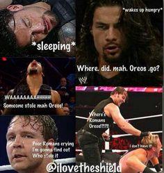 Hungry Roman & Dean hunts down roman's oreo cookies