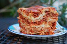 Steep and Deep Lasagna. Oh my goodness, who would have thought of a loaf pan? Genius! Leave out the ricotta and you've got me! SO going to try this!