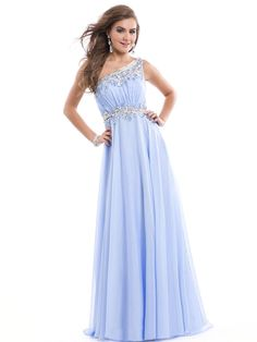 2014 Style A-line One Shoulder Rhinestone Prom Dresses/Evening Dresses #GY222