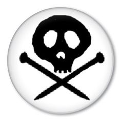 Pirate Knitter button badge  skull & knitting needles by ZippyPins, $2.00