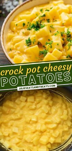 This recipe is just in time for your holiday entertaining needs! Crockpot Cheesy Potatoes are easy to make, delicious, and always a hit. Simply set it and forget it in the slow cooker while you get ready for your Thanksgiving dinner! Check out some flavorful additions! Best Crockpot Recipes, Fall Recipes, Dinner Recipes, Yummy Recipes, Crock Pot Potatoes, Cheesy Potatoes, Yummy Food, Tasty, Side Dishes Easy