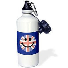 3dRose wb_123136_1 British flag smiley face on blue English Union Jack Happy England United Kingdom Britain cartoon Sports Water Bottle 21 oz White *** You can find out more details at the link of the image.
