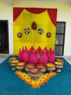 Desi Wedding Decor, Wedding Hall Decorations, Diy Wedding Backdrop, Marriage Decoration, Backdrop Decorations, Festival Decorations, Flower Decorations, Ganapati Decoration, Decoration For Ganpati