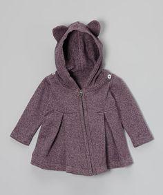 Plum Heather Organic Bear Hoodie - Infant, Toddler & Girls