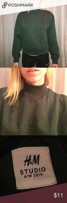 NWOT H&M half neck sweatshirt Never been worn H&M dark green half turtle neck sweatshirt. Super cozy. One size fits all, but more so XS-M. H&M Tops Sweatshirts & Hoodies