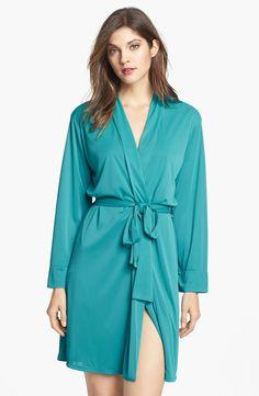 Natori Aphrodite Short Robe in Green (Turquoise) | Lyst
