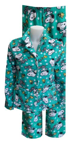 Peanuts Snoopy and Woodstock Teal Plush Pajama This is an awesome version of a classic button front pajama! The super soft plus...