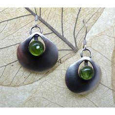 sterling silver peridot bezel set earrings by EvittsCreekArts ($41) via Polyvore