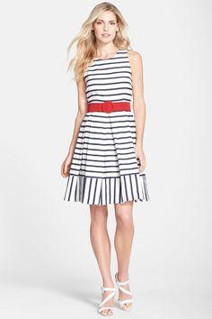 Eliza J | Belted Stripe Fit & Flare Dress (Petite) | Nordstrom Rack