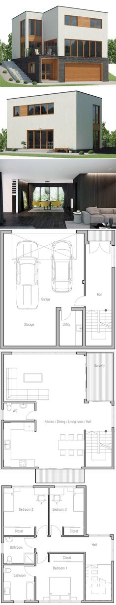Sloping lot house plan, home plan, modern architecture