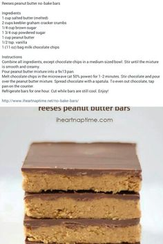 No Bake Resses Peanut Butter Bars