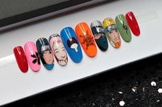 Aycrlic Nails, Swag Nails, Cute Nails, Pretty Nails, Naruto Nails, Anime Nails, Cute Acrylic Nail Designs, Best Acrylic Nails, Maquillage Cosplay Anime