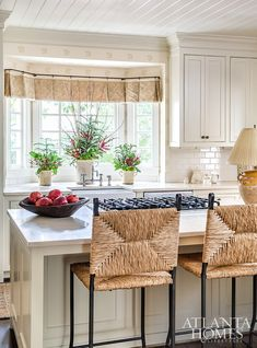 House Tour: Beth Ervin Designed Home Reimagined for Entertaining Heart Pine Flooring, Pine Floors, Losing Your Mother, Atlanta Homes, Wood Windows, Striped Wallpaper, Architectural Features, House Tours, Interior Design