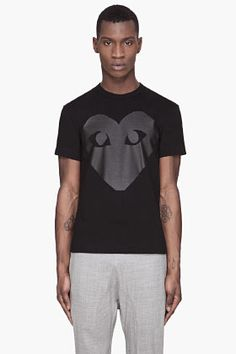 Comme Des Garçons Play Black Glossy Heart T-shirt for men | SSENSE
