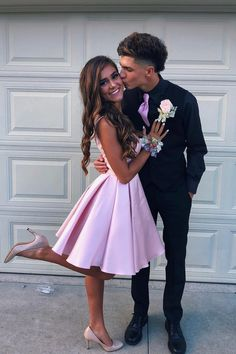 V Neck Straps Short Pink Homecoming Dress V Neck Straps Short Pink Homecoming Dress,♡Prom Dresses princess pink homecoming dresses, short homecoming dresses Related The Latest Fashion Outfits To. Homecoming Dresses Knee Length, Homecoming Poses, Prom Poses, Dresses Short, Hoco Dresses, Dance Dresses, Party Dresses, Dress Prom, Prom Pictures Couples