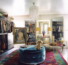 Now that's what I call a dressing room. I tell buyers all the time who are looking for more closets that they just need to convert an extra bedroom into the dressing room of their dreams!