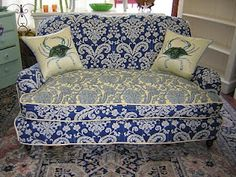 Great fabric -settee slipcover  by my friend Gina at slipcoverchic.blogspot