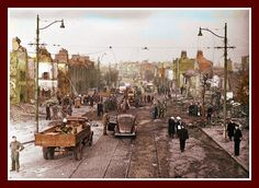A bit of dublin history The North Strand the morning after the German bombing, On the night of 31st May 1941, four high-explosive bombs were dropped by German aircraft on the North Strand area of Dublin City. B/W Photo Colourised by Pearse.