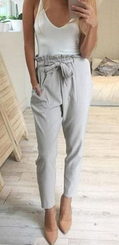 grey high waist pants to wear to the office