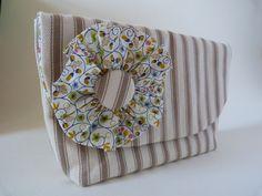Ecru Ticking Clutch Bag with Liberty Rosette. $40.40, via Etsy.
