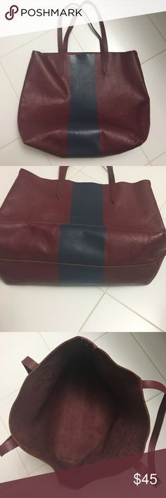 Jcrew burgundy & navy tote Excellent condition, missing the little envelope tag. Jcrew retail. Genuine leather J. Crew Bags Totes
