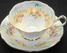 Queen Anne Gold Daisy Basket Blue White Wide TEA CUP AND Saucer