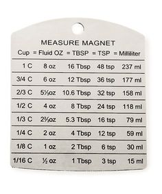The Magnetic RSVP Measuring Conversion Chart gives you convenient access to conversions of cup measurements to their equivalents in fluid ounces, tablespoons, teaspoons and milliliters. Kitchen Measurement Conversions, Measurement Conversion Chart, Kitchen Conversion, Cup Conversion, Baking Conversion, Measurement Converter, Math Conversions, Kitchen Cheat Sheets, Kitchen Measurements