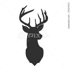 Hand drawn silhouette of head of reindeer. Vector