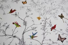 Knock off Schumacher wallpaper done with sharpies and craft paint!?  now that's just crazy impressive.