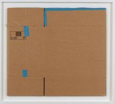 Matias Faldbakken, Untitled (Flat Box ♯17), 2012, Blue electrical tape on cardboard, Work: 71 x 80.5 x 0.5 cm (27.95 x 31.69 x 0.2 in) Frame: 83.7 x 93.2 cm (32.95 x 36.69 in)